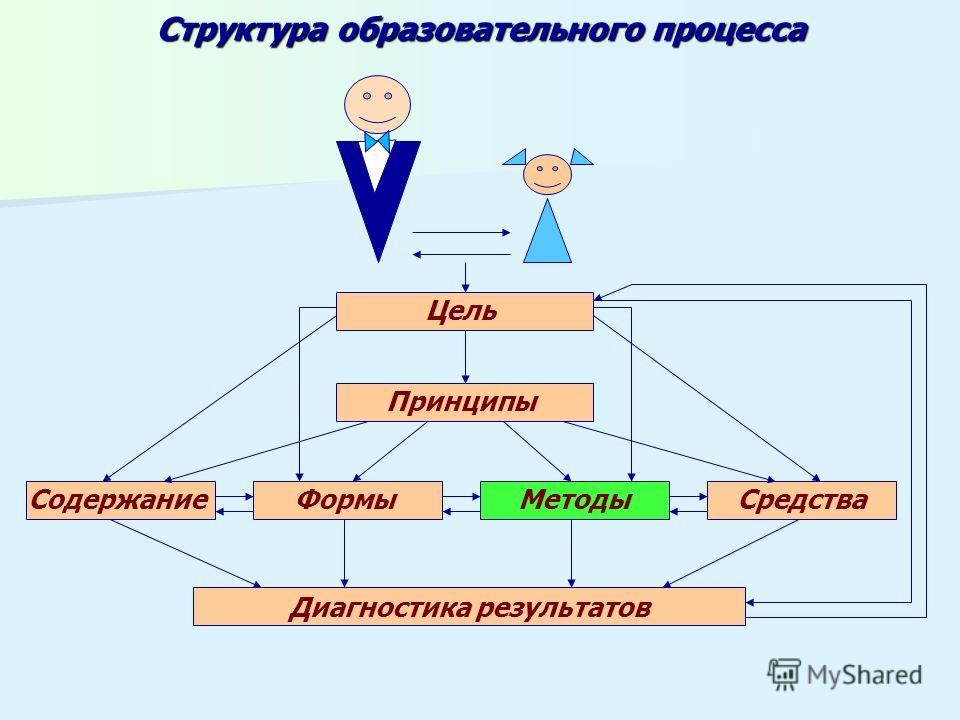 Структура образовательного процесса Цель Принципы Содержание ФормыМетодыСредства Диагностика результатов