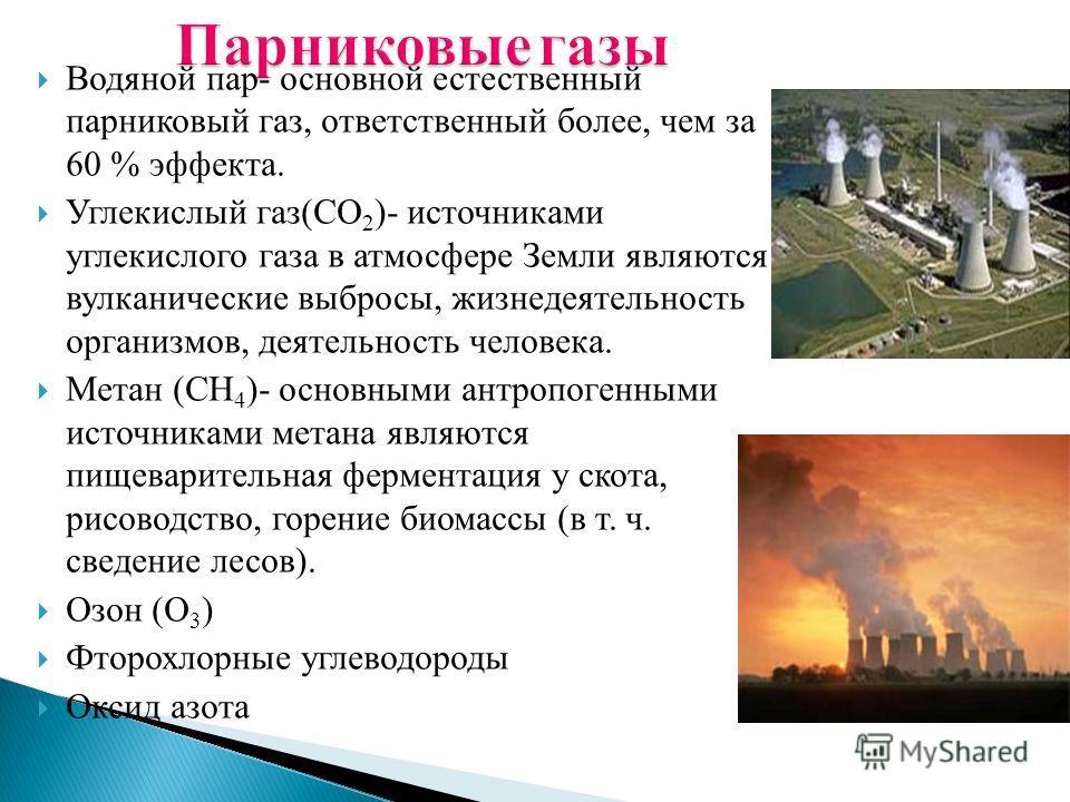 Водяной пар- основной естественный парниковый газ, ответственный более, чем за 60 % эффекта. Углекислый газ(CO 2 )- источниками углекислого газа в атмосфере Земли являются вулканические выбросы, жизнедеятельность организмов, деятельность человека. Ме