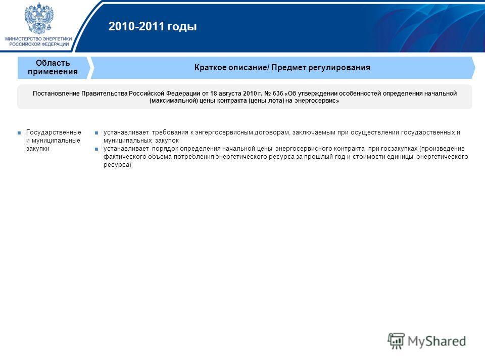 2010-2011 годы Государственные и муниципальные закупки устанавливает требования к энгергосервисным договорам, заключаемым при осуществлении государственных и муниципальных закупок устанавливает порядок определения начальной цены энергосервисного конт