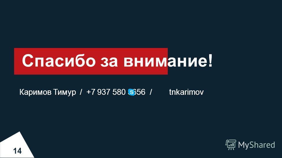 Спасибо за внимание! 14 Каримов Тимур / +7 937 580 5656 / tnkarimov