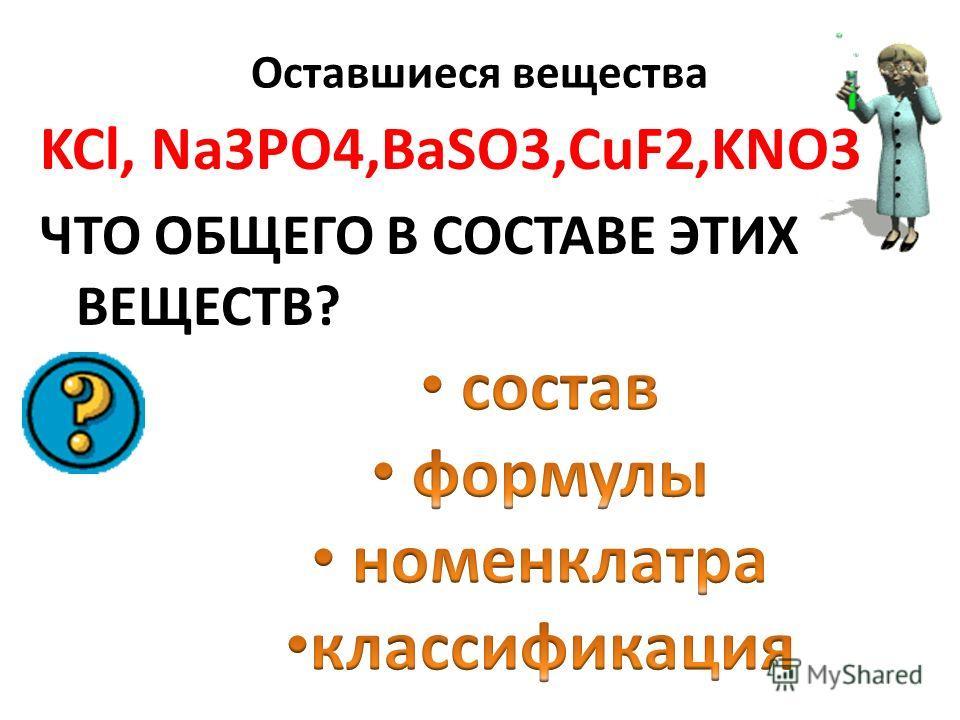 Оксиды Основания Кислоты BaO, CO2NaOH, Ca(OH) 2 Al(OH) 3 H2SO4 H2SiO3 H3PO4 H2CO3 HNO3 KCl Na3PO4 BaSO3 CuF2 KNO3