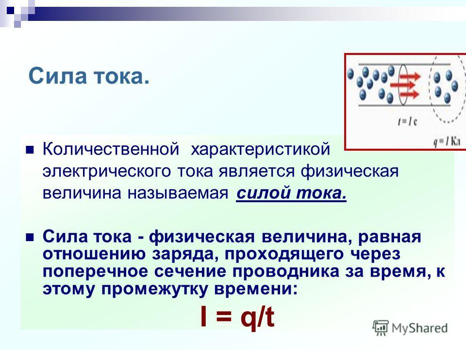 Сила тока. Единицы силы тока. Амперметр. Измерение силы тока.