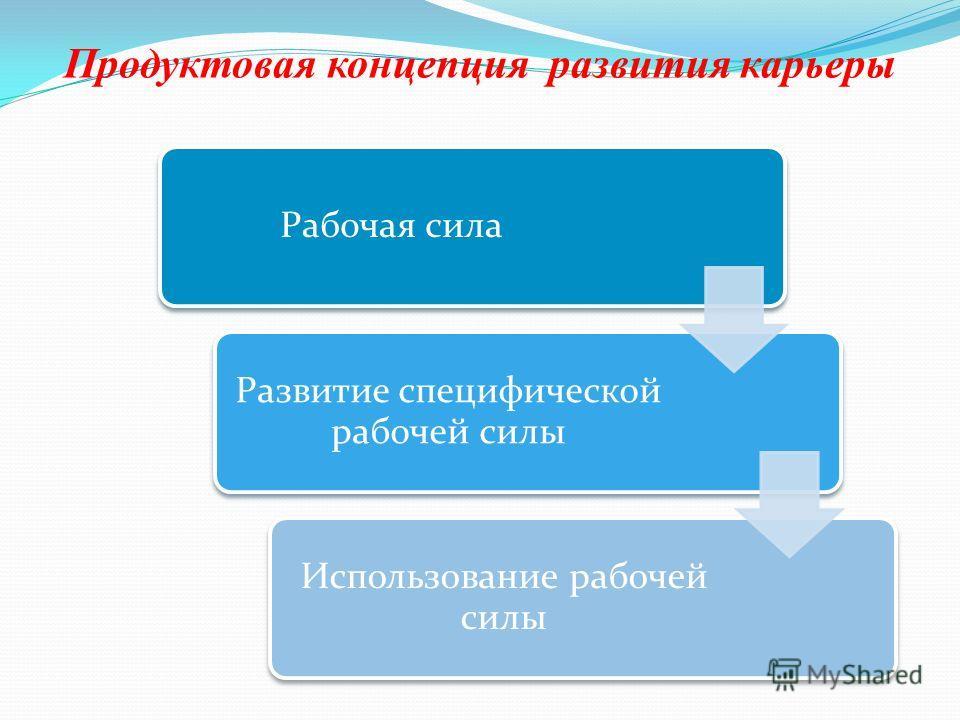 Продуктовая концепция развития карьеры Рабочая сила Развитие специфической рабочей силы Использование рабочей силы