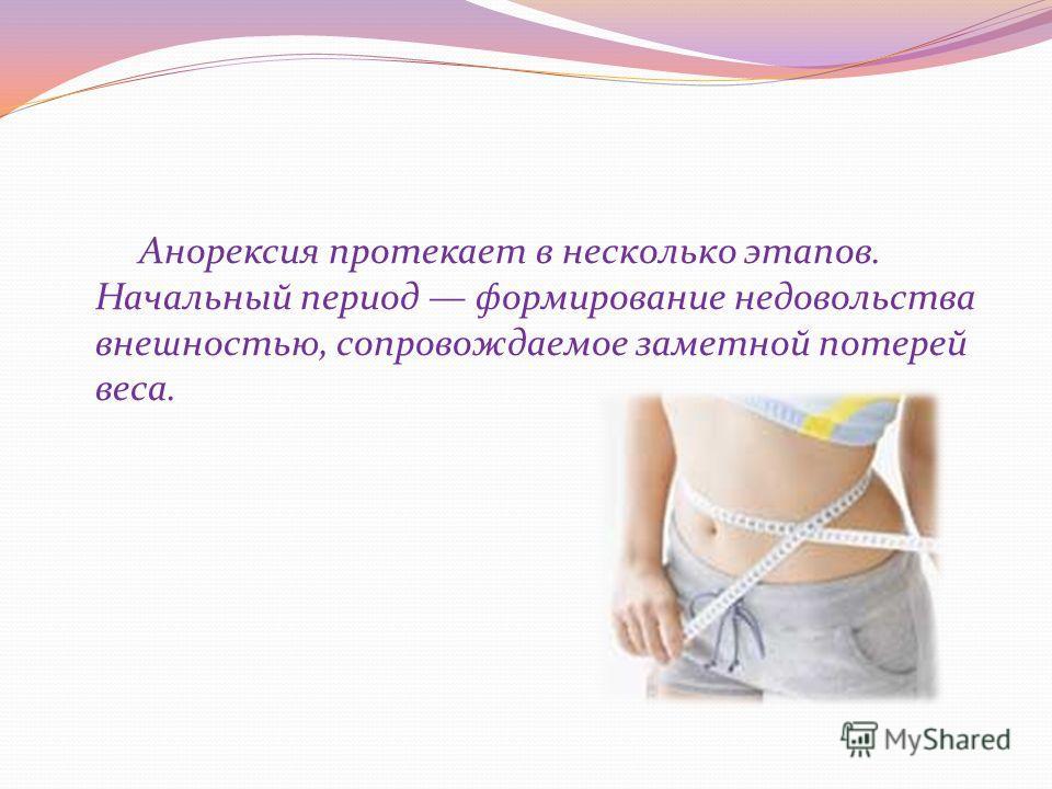 Анорексия протекает в несколько этапов. Начальный период формирование недовольства внешностью, сопровождаемое заметной потерей веса.