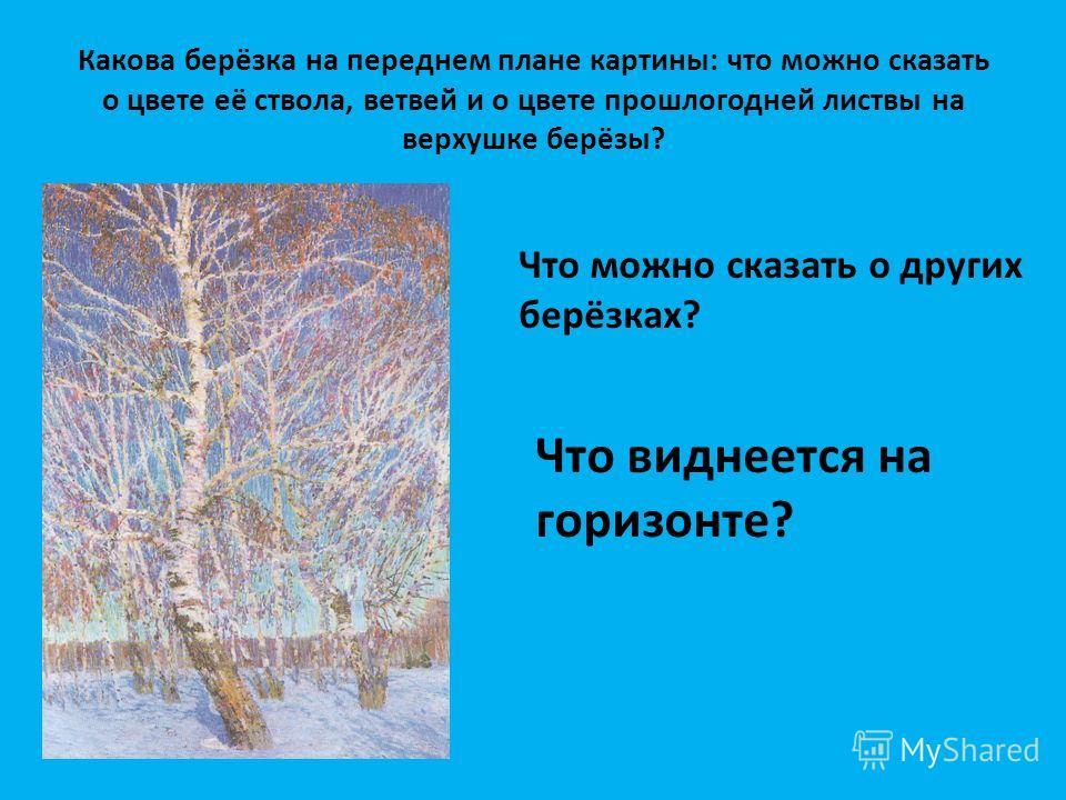 Какова берёзка на переднем плане картины: что можно сказать о цвете её ствола, ветвей и о цвете прошлогодней листвы на верхушке берёзы? Что можно сказать о других берёзках? Что виднеется на горизонте?