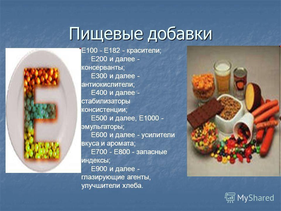 Пищевые добавки Е100 - Е182 - красители; Е200 и далее - консерванты; Е300 и далее - антиокислители; Е400 и далее - стабилизаторы консистенции; Е500 и далее, Е1000 - эмульгаторы; Е600 и далее - усилители вкуса и аромата; Е700 - Е800 - запасные индексы