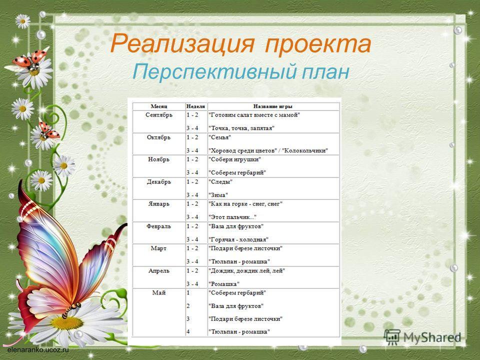 Реализация проекта Перспективный план