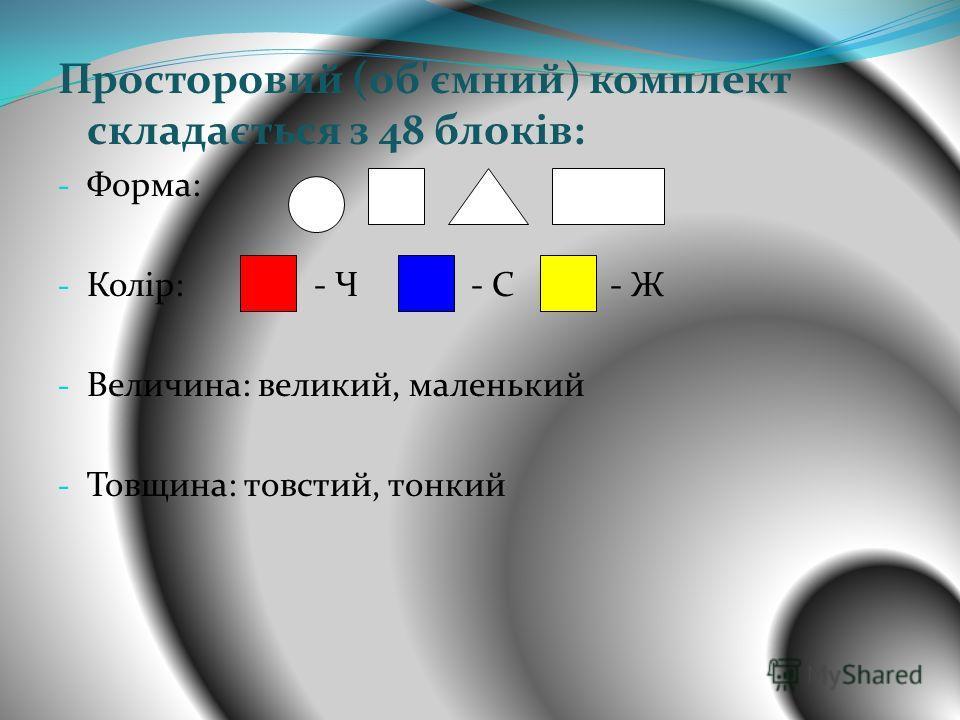 Просторовий (об'ємний) комплект складається з 48 блоків: - Форма: - Колір: - Ч - С - Ж - Величина: великий, маленький - Товщина: товстий, тонкий