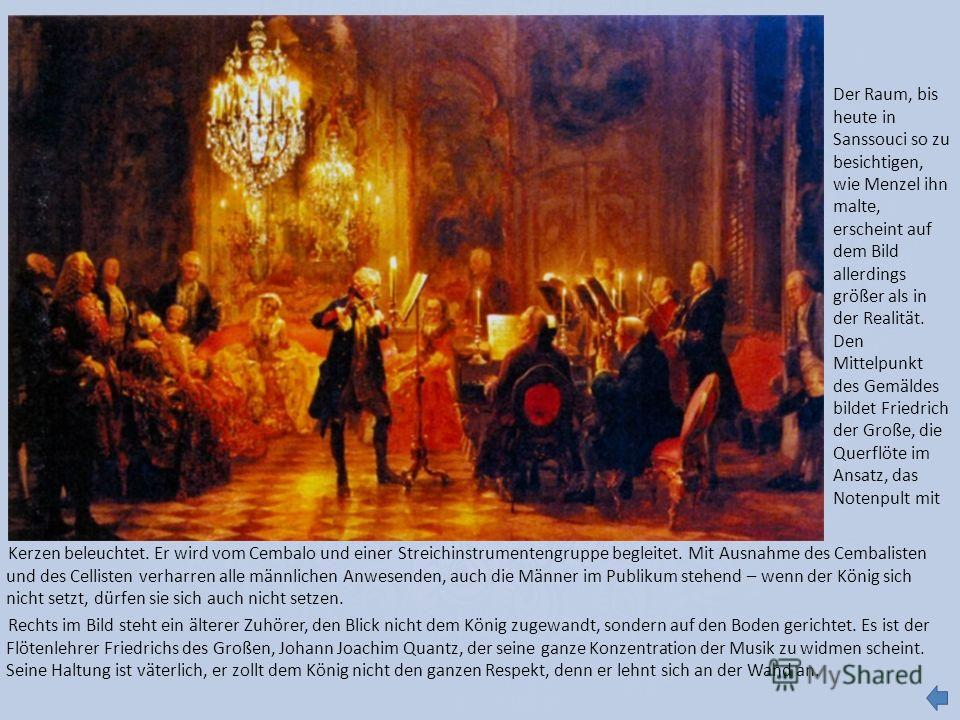 Kerzen beleuchtet. Er wird vom Cembalo und einer Streichinstrumentengruppe begleitet. Mit Ausnahme des Cembalisten und des Cellisten verharren alle männlichen Anwesenden, auch die Männer im Publikum stehend – wenn der König sich nicht setzt, dürfen s