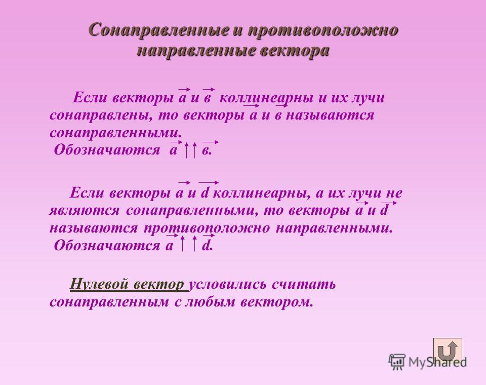 Сонаправленные и противоположно направленные вектора Если векторы а и в коллинеарны и их лучи сонаправлены, то векторы а и в называются сонаправленными. Обозначаются а в. Если векторы а и d коллинеарны, а их лучи не являются сонаправленными, то векто
