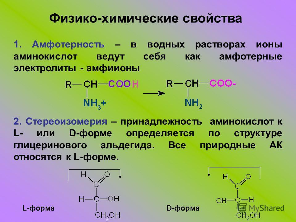 1. Амфотерность – в водных растворах ионы аминокислот ведут себя как амфотерные электролиты - амфиионы 2. Стереоизомерия – принадлежность аминокислот к L- или D-форме определяется по структуре глицеринового альдегида. Все природные АК относятся к L-ф