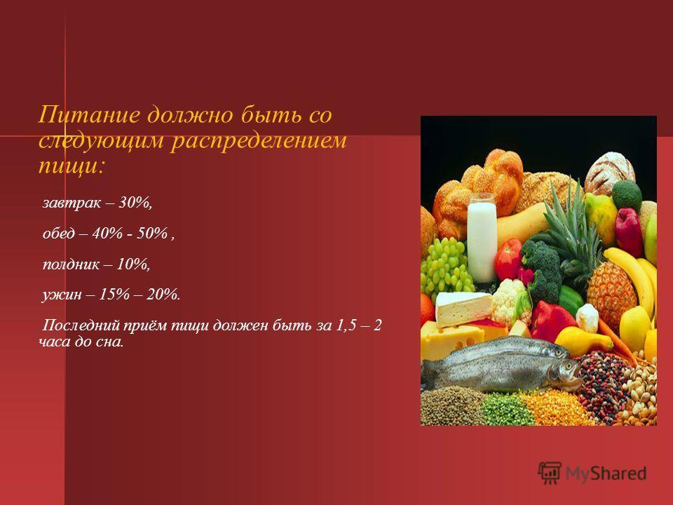 Питание должно быть со следующим распределением пищи: завтрак – 30%, обед – 40% - 50%, полдник – 10%, ужин – 15% – 20%. Последний приём пищи должен быть за 1,5 – 2 часа до сна.