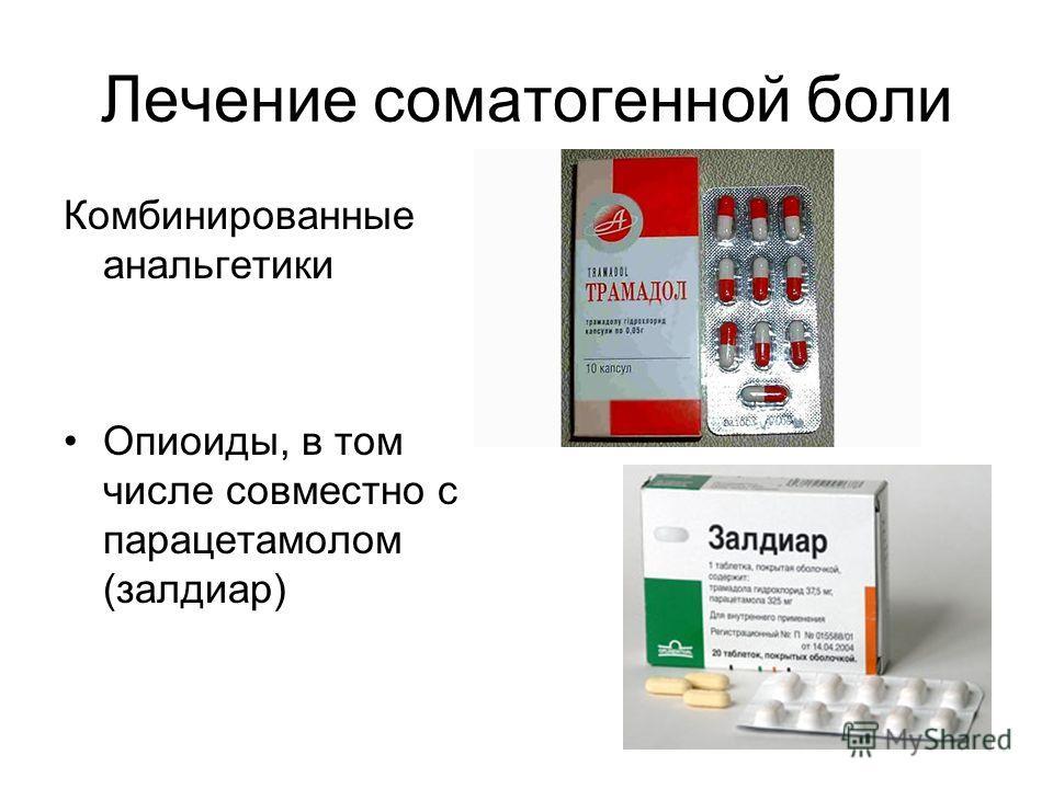 Лечение соматогенной боли Комбинированные анальгетики Опиоиды, в том числе совместно с парацетамолом (залдиар)