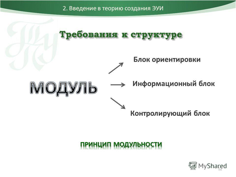 12 2. Введение в теорию создания ЭУИ Требования к структуре