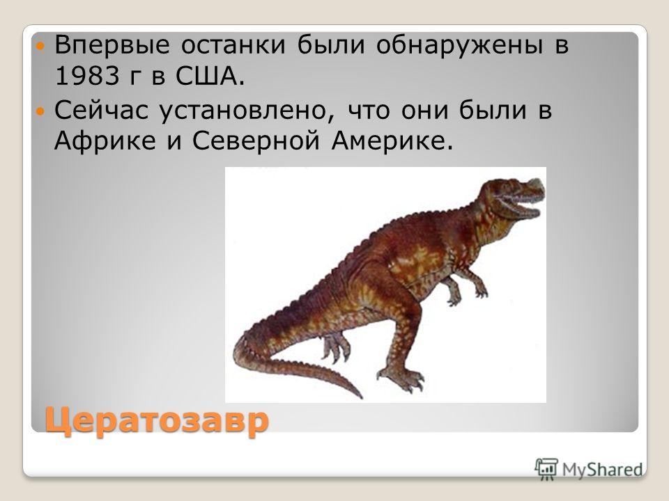 Цератозавр Впервые останки были обнаружены в 1983 г в США. Сейчас установлено, что они были в Африке и Северной Америке.