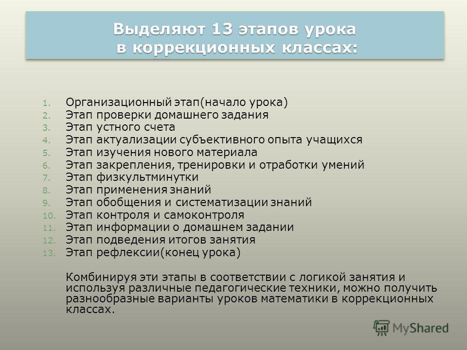 Выделяют 13 этапов урока в коррекционных классах: 1. Организационный этап(начало урока) 2. Этап проверки домашнего задания 3. Этап устного счета 4. Этап актуализации субъективного опыта учащихся 5. Этап изучения нового материала 6. Этап закрепления,