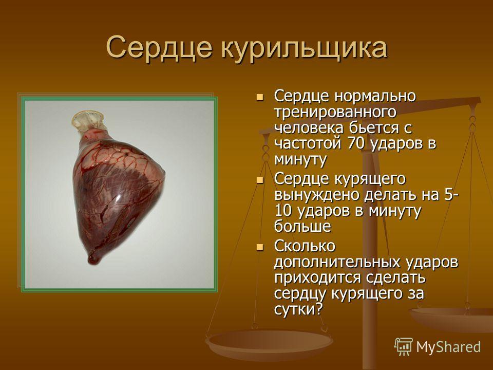 Сердце курильщика Сердце нормально тренированного человека бьется с частотой 70 ударов в минуту Сердце курящего вынуждено делать на 5- 10 ударов в минуту больше Сколько дополнительных ударов приходится сделать сердцу курящего за сутки?