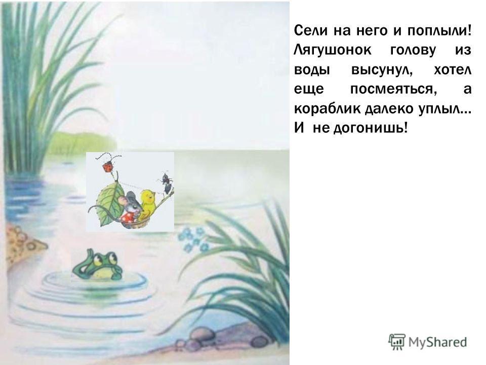 Сели на него и поплыли! Лягушонок голову из воды высунул, хотел еще посмеяться, а кораблик далеко уплыл… И не догонишь!