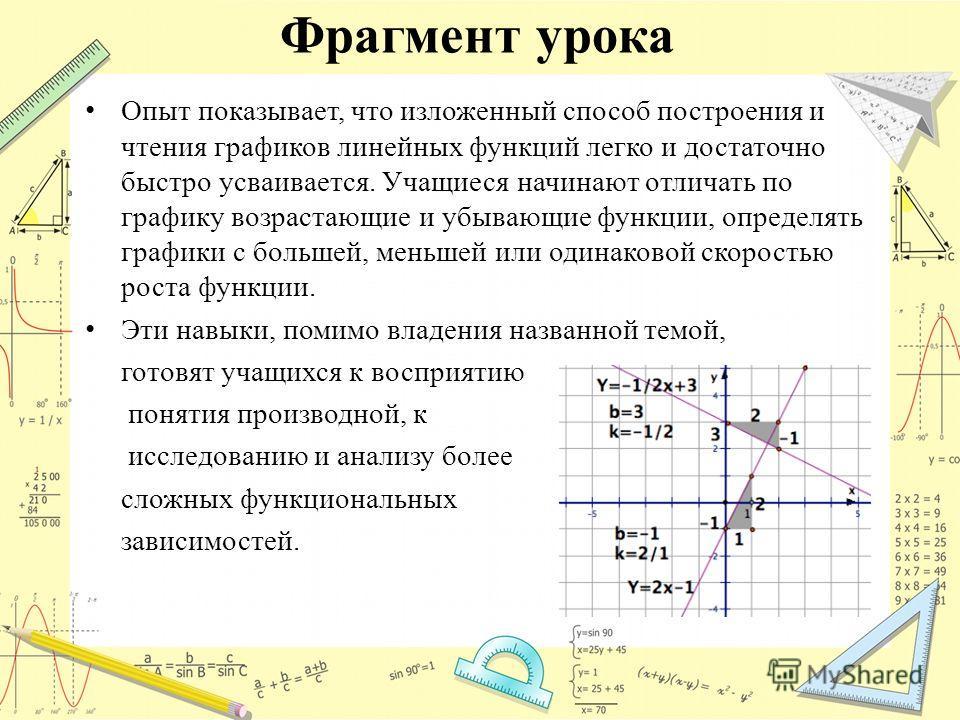 Фрагмент урока Опыт показывает, что изложенный способ построения и чтения графиков линейных функций легко и достаточно быстро усваивается. Учащиеся начинают отличать по графику возрастающие и убывающие функции, определять графики с большей, меньшей и