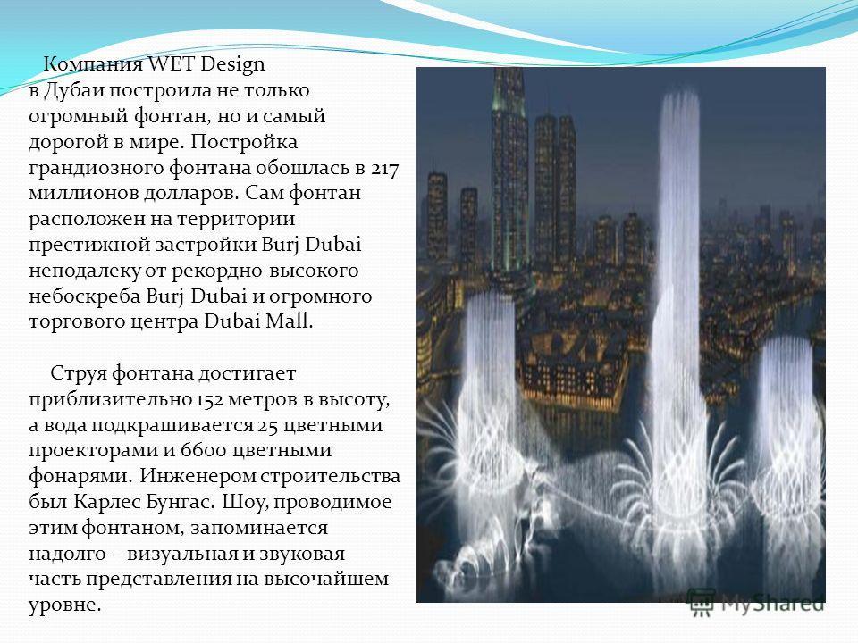 Компания WET Design в Дубаи построила не только огромный фонтан, но и самый дорогой в мире. Постройка грандиозного фонтана обошлась в 217 миллионов долларов. Сам фонтан расположен на территории престижной застройки Burj Dubai неподалеку от рекордно в