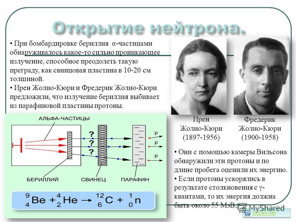 Ирен Жолио-Кюри (1897-1956) Фредерик Жолио-Кюри (1900-1958) При бомбардировке бериллия α-частицами обнаруживалось какое-то сильно проникающее излучение, способное преодолеть такую преграду, как свинцовая пластина в 10-20 см толщиной. Ирен Жолио-Кюри