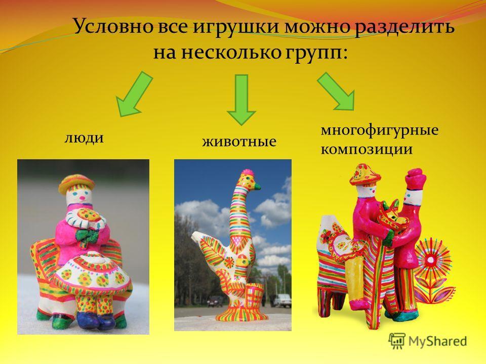 Условно все игрушки можно разделить на несколько групп: люди животные многофигурные композиции