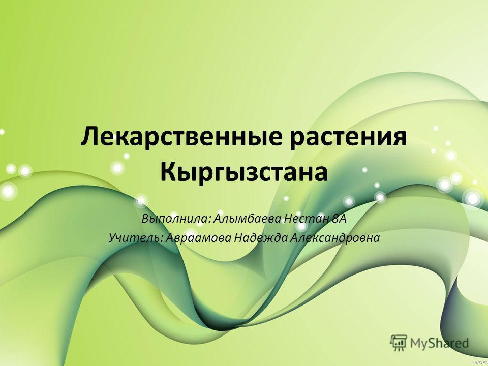 Лекарственные растения Кыргызстана Выполнила: Алымбаева Нестан 8А Учитель: Авраамова Надежда Александровна
