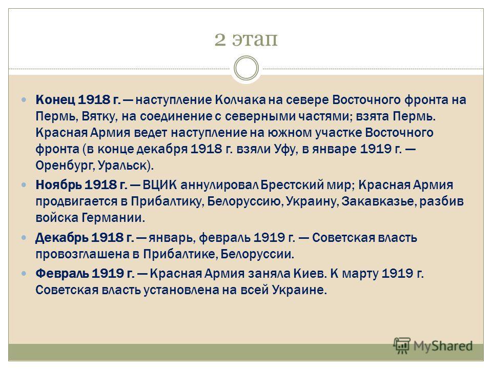 2 этап Kонец 1918 г. наступление Kолчака на севере Восточного фронта на Пермь, Вятку, на соединение с северными частями; взята Пермь. Kрасная Армия ведет наступление на южном участке Восточного фронта (в конце декабря 1918 г. взяли Уфу, в январе 1919