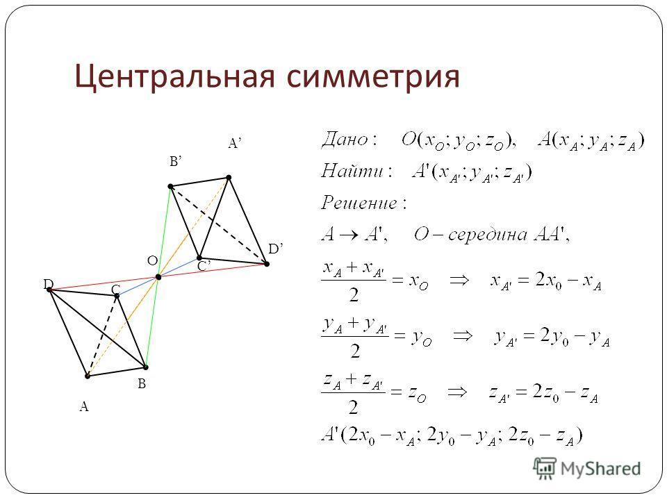 Центральная симметрия A B C D A B C D O