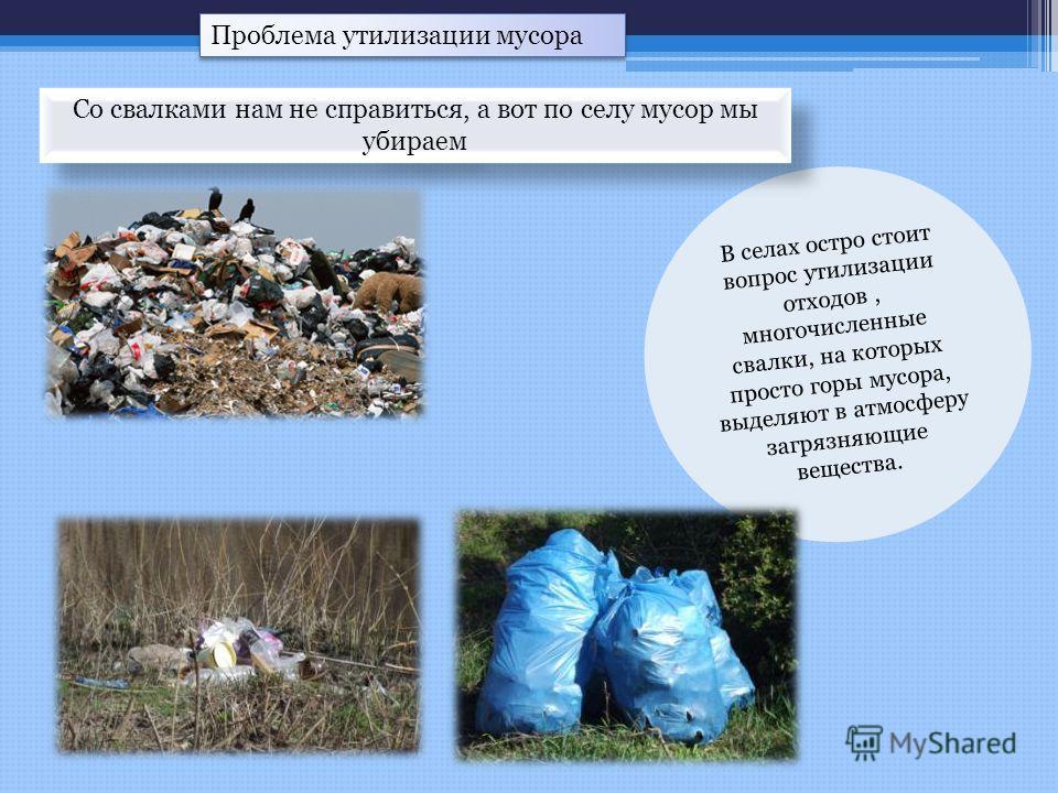 Проблема утилизации мусора В селах остро стоит вопрос утилизации отходов, многочисленные свалки, на которых просто горы мусора, выделяют в атмосферу загрязняющие вещества. Со свалками нам не справиться, а вот по селу мусор мы убираем
