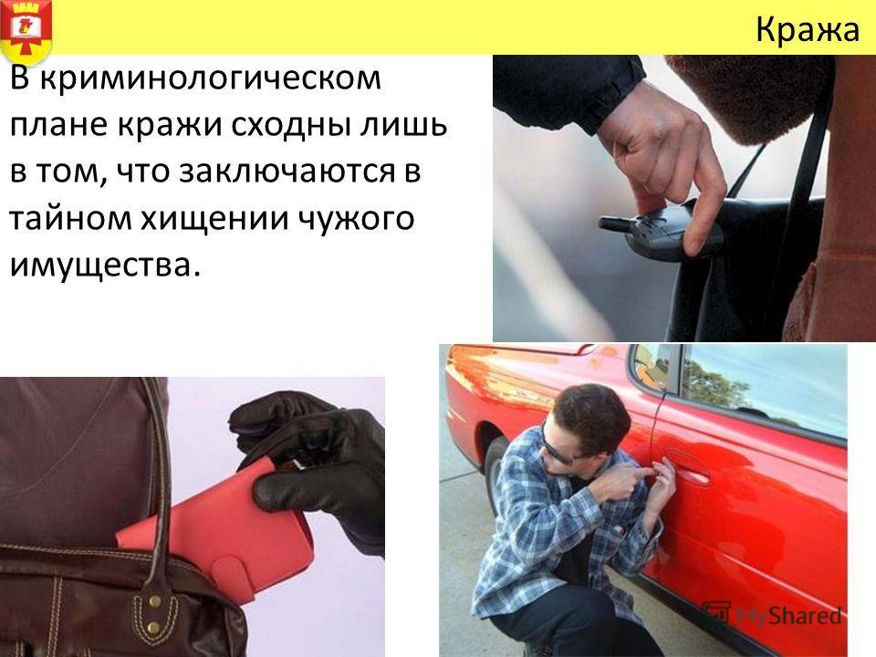 Кража В криминологическом плане кражи сходны лишь в том, что заключаются в тайном хищении чужого имущества.