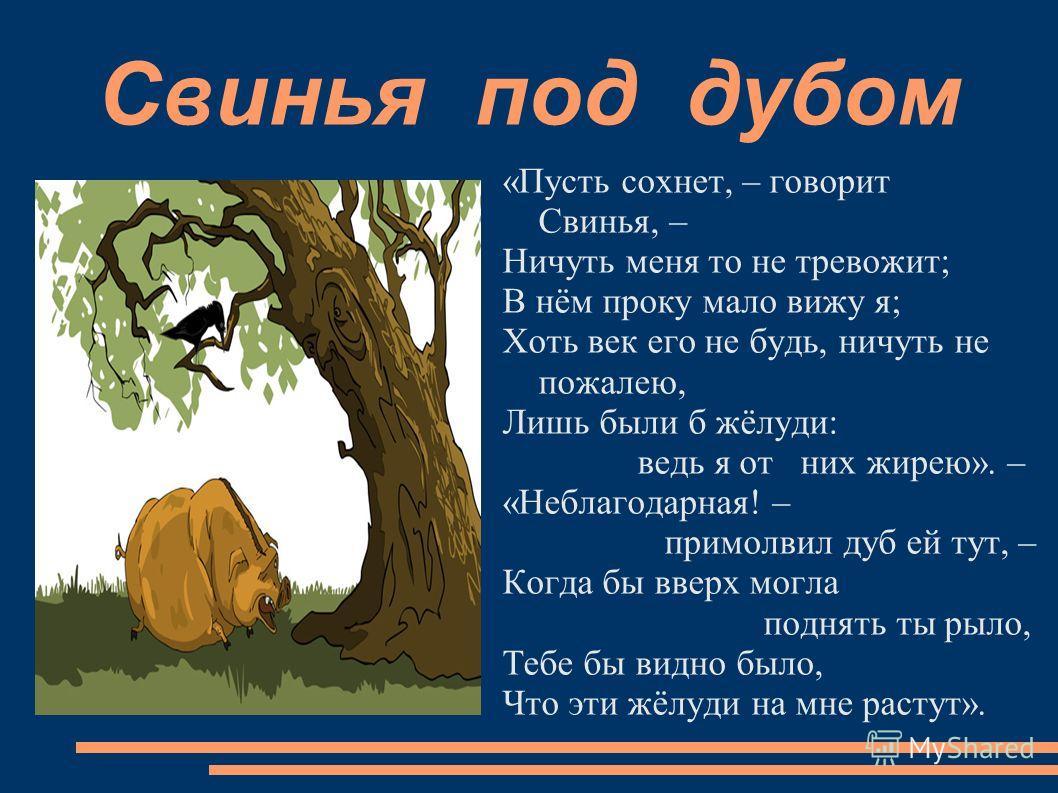Свинья под дубом «Пусть сохнет, – говорит Свинья, – Ничуть меня то не тревожит; В нём проку мало вижу я; Хоть век его не будь, ничуть не пожалею, Лишь были б жёлуди: ведь я от них жирею». – «Неблагодарная! – примолвил дуб ей тут, – Когда бы вверх мог