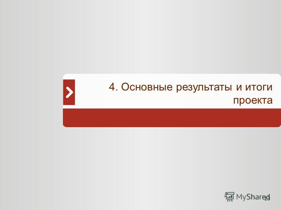 13 4. Основные результаты и итоги проекта
