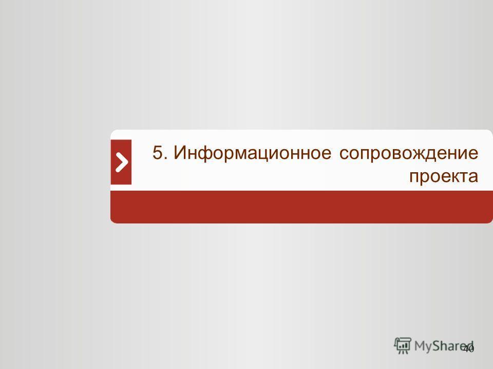40 5. Информационное сопровождение проекта