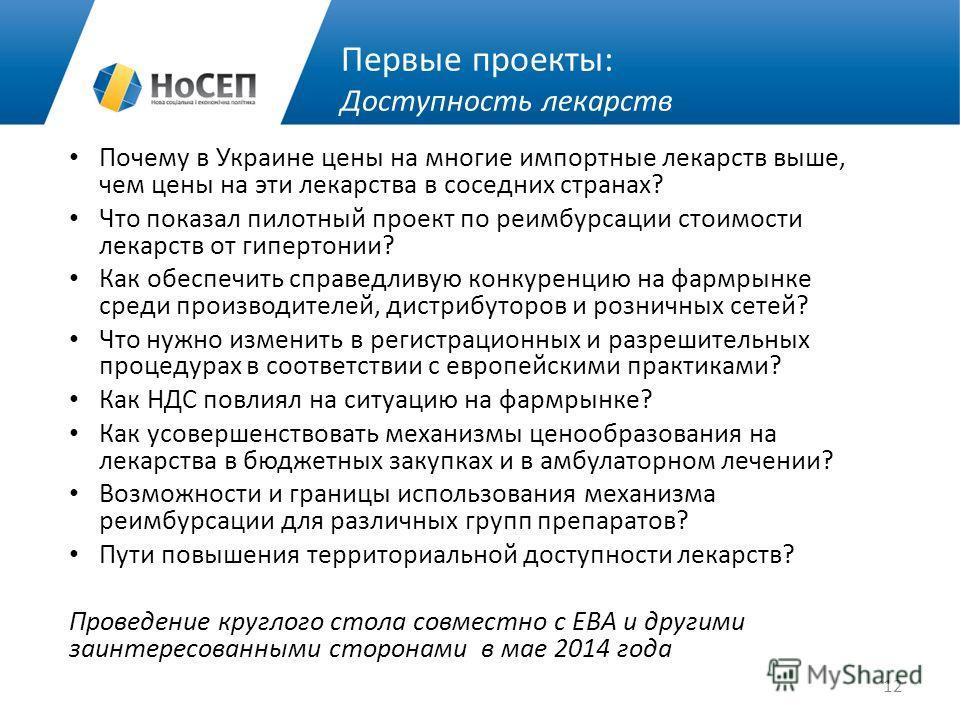 Первые проекты: Доступность лекарств Почему в Украине цены на многие импортные лекарств выше, чем цены на эти лекарства в соседних странах? Что показал пилотный проект по реимбурсации стоимости лекарств от гипертонии? Как обеспечить справедливую конк
