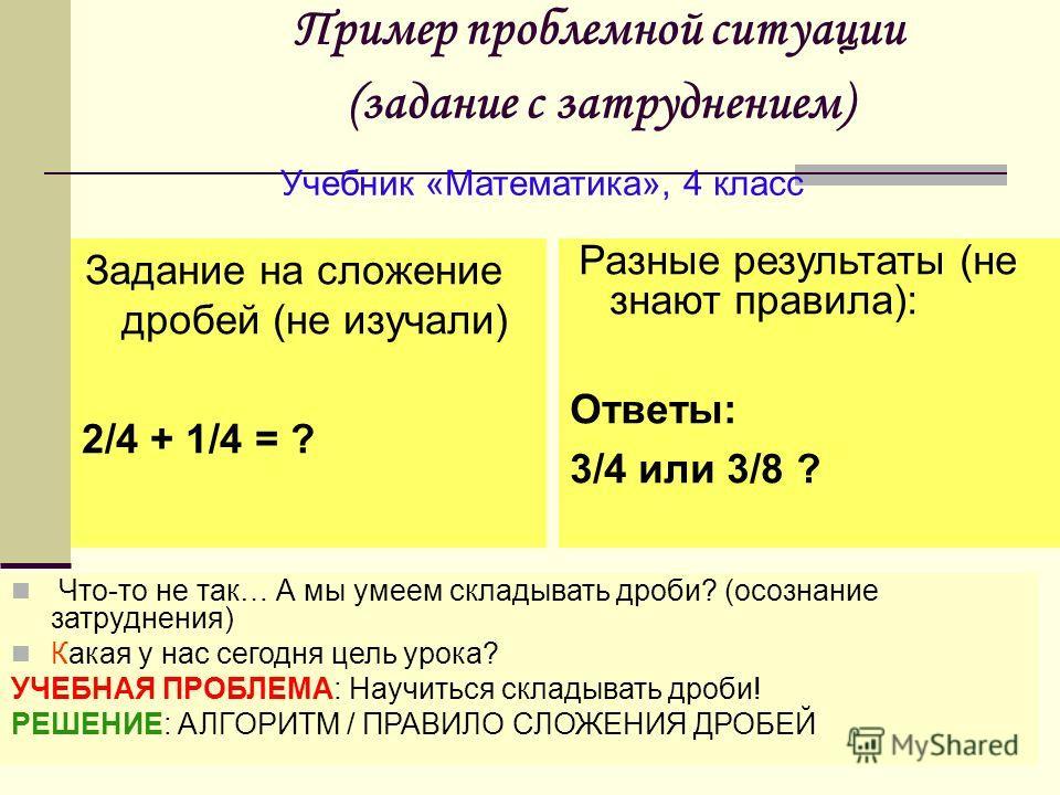 Пример проблемной ситуации (задание с затруднением) Задание на сложение дробей (не изучали) 2/4 + 1/4 = ? Учебник «Математика», 4 класс Разные результаты (не знают правила): Ответы: 3/4 или 3/8 ? Что-то не так… А мы умеем складывать дроби? (осознание