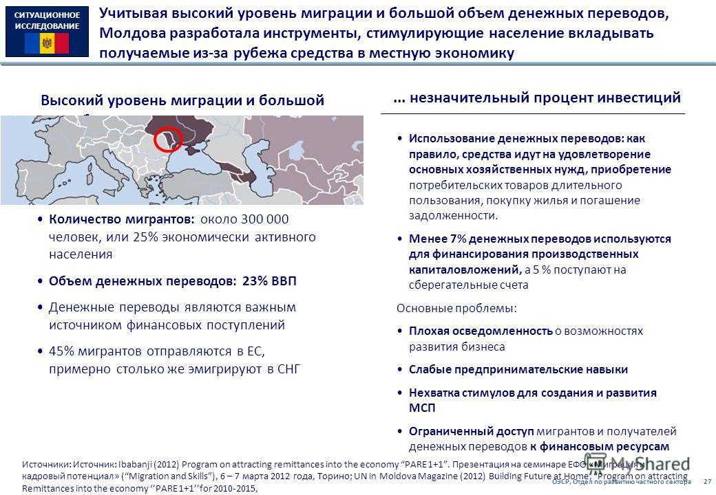 ОЭСР, Отдел по развитию частного сектора27 Учитывая высокий уровень миграции и большой объем денежных переводов, Молдова разработала инструменты, стимулирующие население вкладывать получаемые из-за рубежа средства в местную экономику Источники: Источ