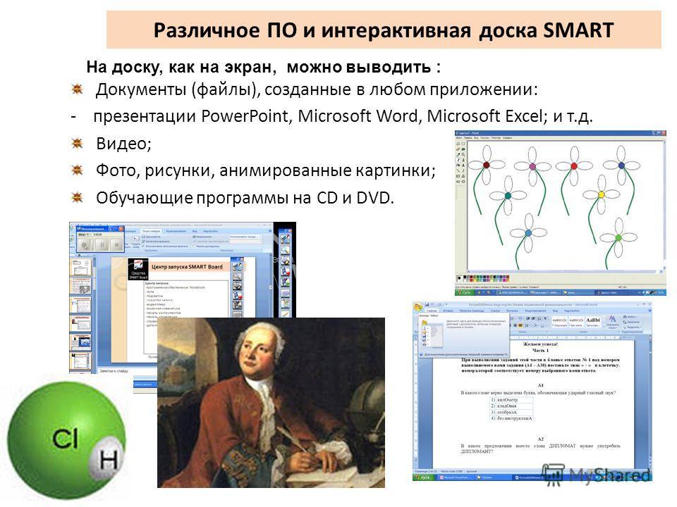Различное ПО и интерактивная доска SMART Документы (файлы), созданные в любом приложении: - презентации PowerPoint, Microsoft Word, Microsoft Excel; и т.д. Видео; Фото, рисунки, анимированные картинки; Обучающие программы на CD и DVD. На доску, как н