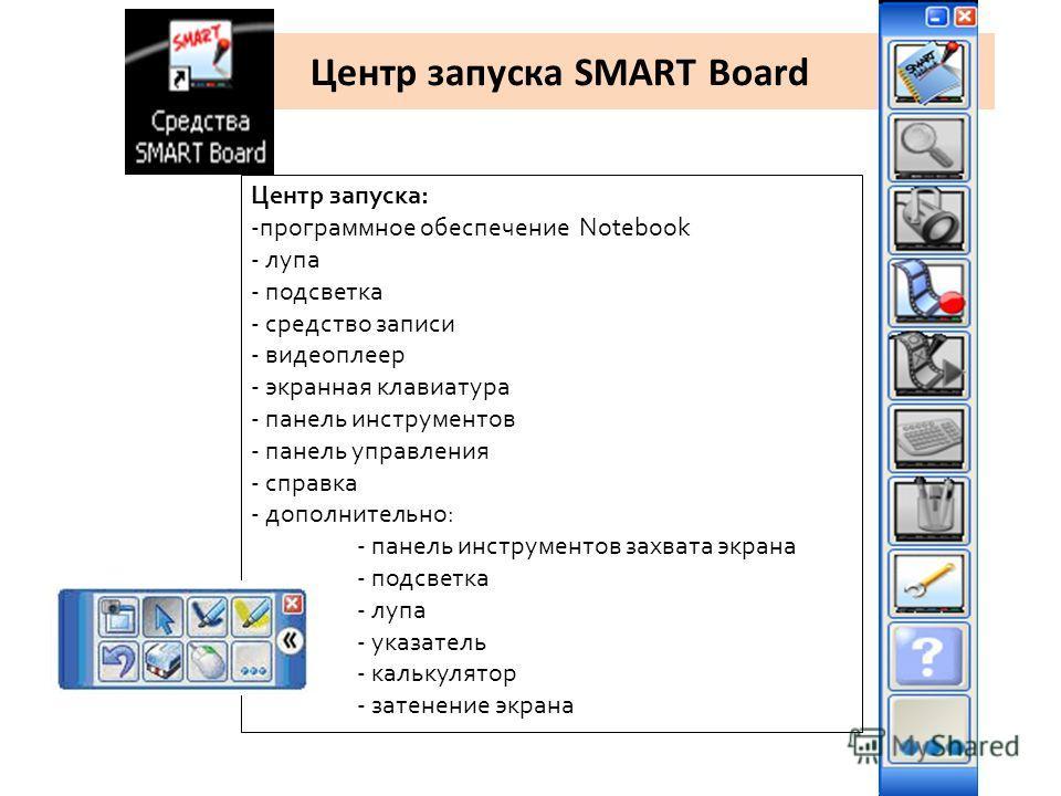 Центр запуска SMART Board Центр запуска: -программное обеспечение Notebook - лупа - подсветка - средство записи - видеоплеер - экранная клавиатура - панель инструментов - панель управления - справка - дополнительно: - панель инструментов захвата экра