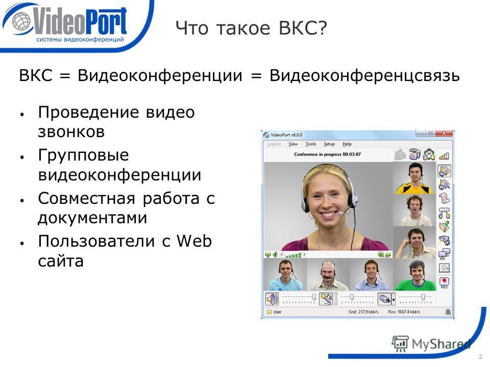 2 Что такое ВКС? ВКС = Видеоконференции = Видеоконференцсвязь Проведение видео звонков Групповые видеоконференции Совместная работа с документами Пользователи с Web сайта