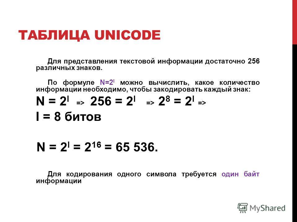 ТАБЛИЦА UNICODE Для представления текстовой информации достаточно 256 различных знаков. По формуле N=2 I можно вычислить, какое количество информации необходимо, чтобы закодировать каждый знак: N = 2 I => 256 = 2 I => 2 8 = 2 I => I = 8 битов N = 2 I