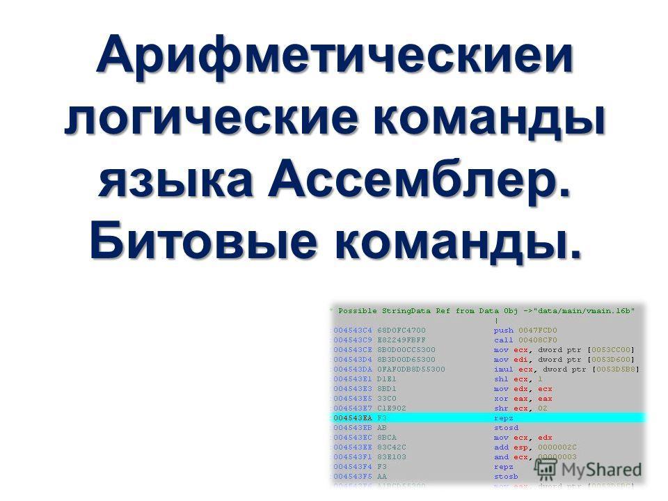 Арифметическиеи логические команды языка Ассемблер. Битовые команды.