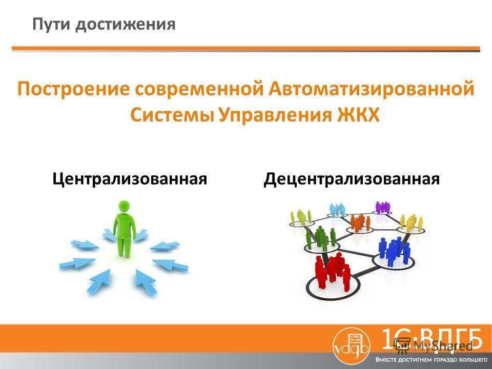 Пути достижения Построение современной Автоматизированной Системы Управления ЖКХ Централизованная Децентрализованная
