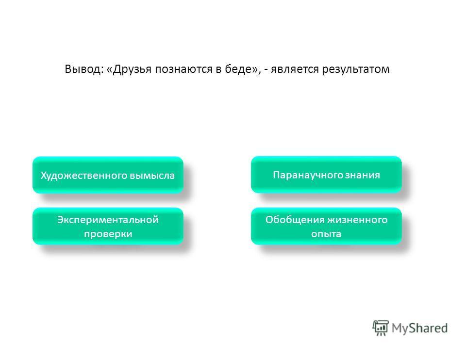 Экспериментальной проверки Экспериментальной проверки Паранаучного знания Обобщения жизненного опыта Обобщения жизненного опыта Художественного вымысла Вывод: «Друзья познаются в беде», - является результатом