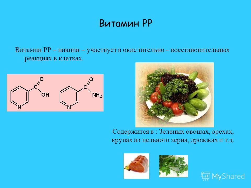 Витамин PP Витамин PP – ниацин – участвует в окислительно – восстановительных реакциях в клетках. Содержится в : Зеленых овощах, орехах, крупах из цельного зерна, дрожжах и т.д.