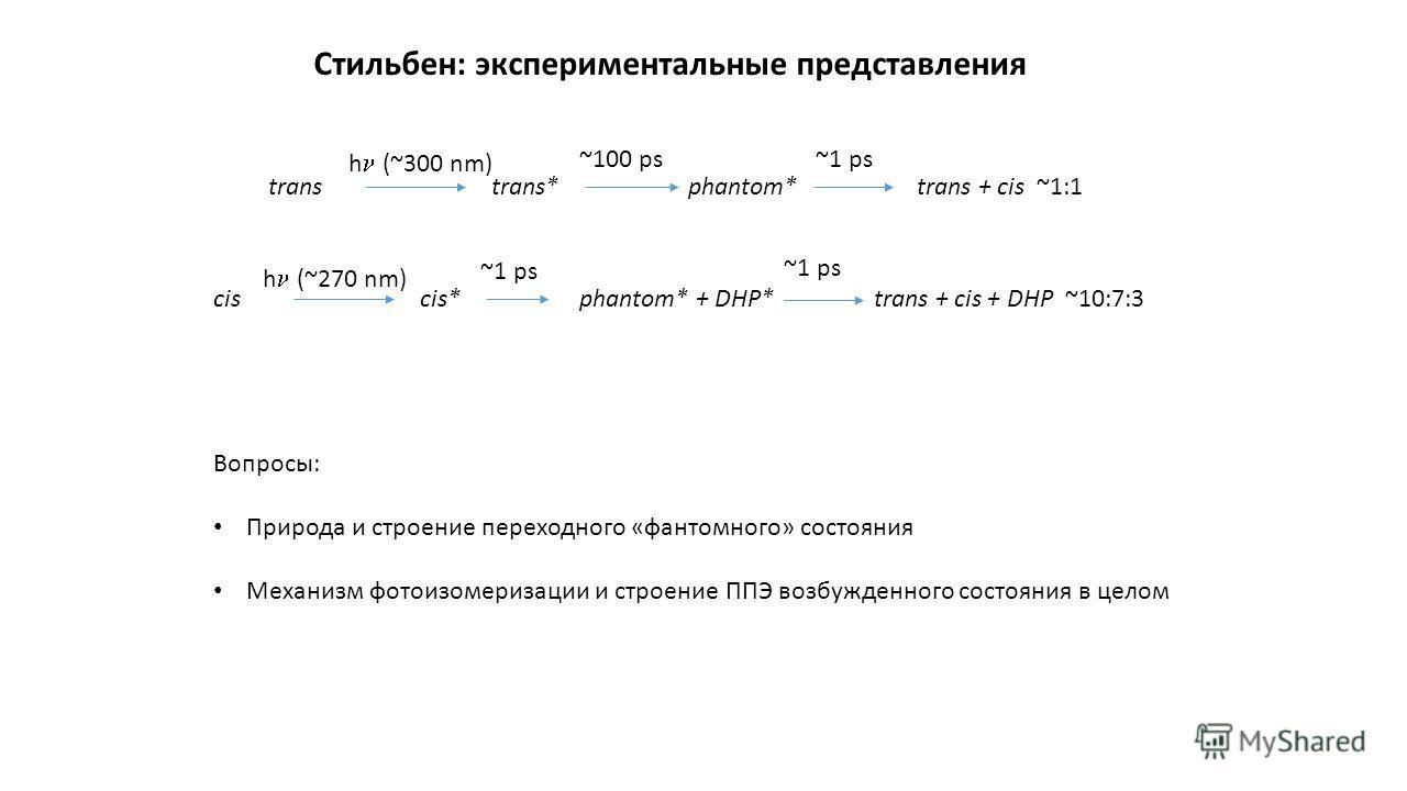 h (~270 nm) cis*phantom* + DHP*trans + cis + DHP ~10:7:3 ~1 ps h (~300 nm) trans*phantom*trans + cis ~1:1 ~100 ps~1 ps Стильбен: экспериментальные представления trans cis Вопросы: Природа и строение переходного «фантомного» состояния Механизм фотоизо