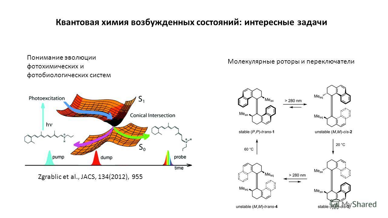Квантовая химия возбужденных состояний: интересные задачи Понимание эволюции фотохимических и фотобиологических систем Молекулярные роторы и переключатели Zgrablic et al., JACS, 134(2012), 955