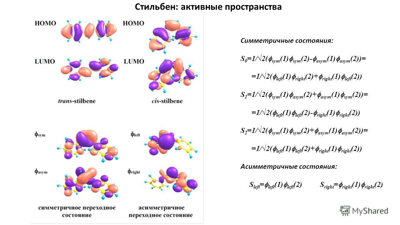 Симметричные состояния: S 0 =1/2( sym (1) sym (2)- asym (1) asym (2))= =1/2( left (1) right (2)+ right (1) left (2)) S 1 =1/2( sym (1) asym (2)+ asym (1) sym (2))= =1/2( left (1) left (2)- right (1) right (2)) S 2 =1/2( sym (1) sym (2)+ asym (1) asym
