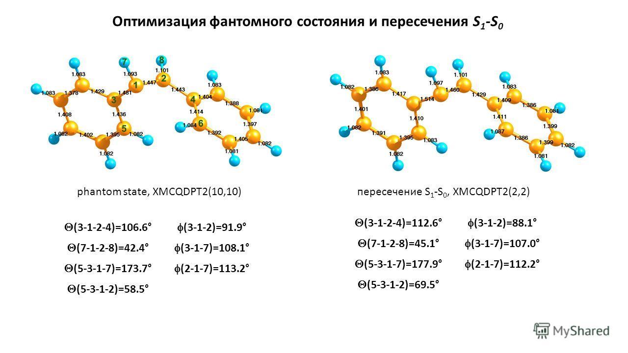 Оптимизация фантомного состояния и пересечения S 1 -S 0 phantom state, XMCQDPT2(10,10)пересечение S 1 -S 0, XMCQDPT2(2,2) (3-1-2-4)=106.6° (7-1-2-8)=42.4° (5-3-1-7)=173.7° (5-3-1-2)=58.5° (3-1-2)=91.9° (3-1-7)=108.1° (2-1-7)=113.2° (3-1-2-4)=112.6° (
