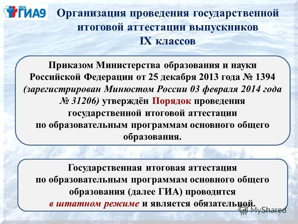 Организация проведения государственной итоговой аттестации выпускников IX классов 2 Приказом Министерства образования и науки Российской Федерации от 25 декабря 2013 года 1394 (зарегистрирован Минюстом России 03 февраля 2014 года 31206) утверждён Пор